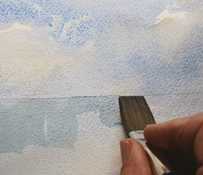 Fig. 2, 3 & 4. Apply this over a wet in wet sky [mush] as a horizon and reflection [anchor] and you have the basic structure of your painting.