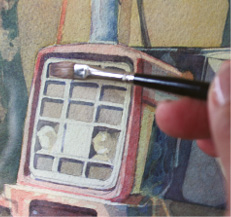Fig. 5. The straight edge comes in to its own when painting repetitive shapes. Take a look at the radiator of this old tractor. Each of the half tone areas is painted with one stroke of ¼ inch one stroke brush and the dark shading on two sides of each aperture is a mark made by a ¼ inch bright. The detail is precise but not overdrawn.