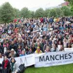 The whole group of Urban Sketchers in Manchester, England 2016.
