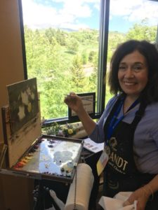 OPA Signature member, Kathy Anderson demonstrating on the Rosemary Brushes Booth